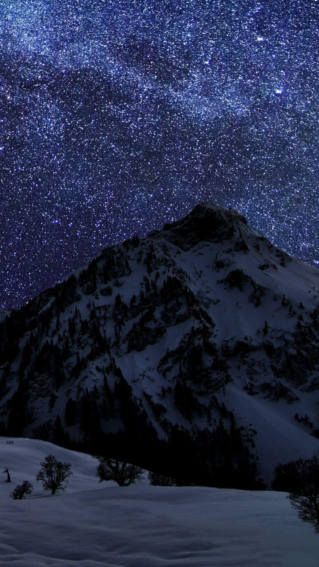 Snow Mountain Noite Sky Stars Android Wallpaper Whatsapp Android 1080x1920