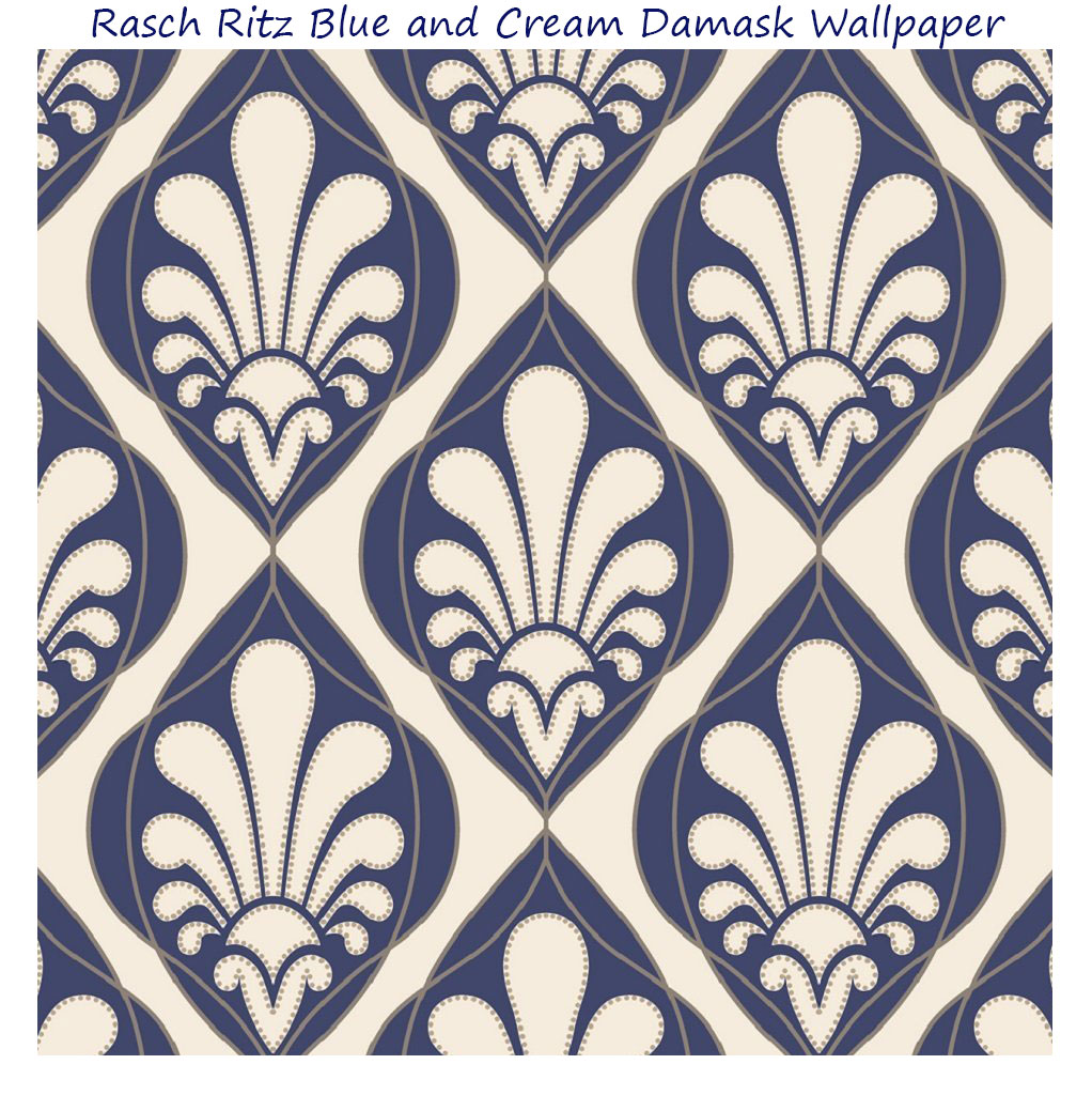 Wallpaper Designer Blue Jacobean Floral on Cream Faux with White 1022x1024
