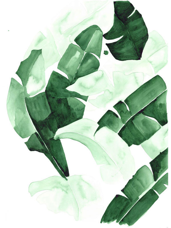 beverly banana leaf tropical watercolor print green leaves the aestate 600x800