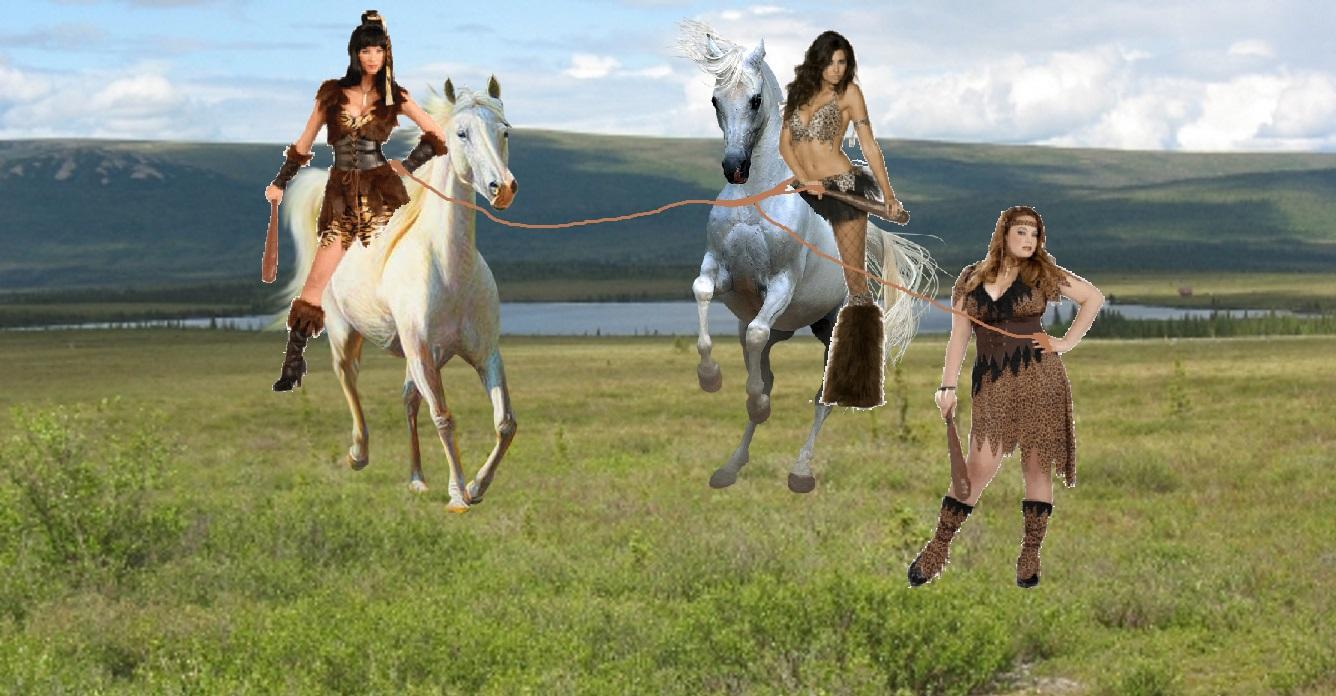 3 Cavewomen team up to tame a Beautiful Wild White Horse   Girls 1336x696