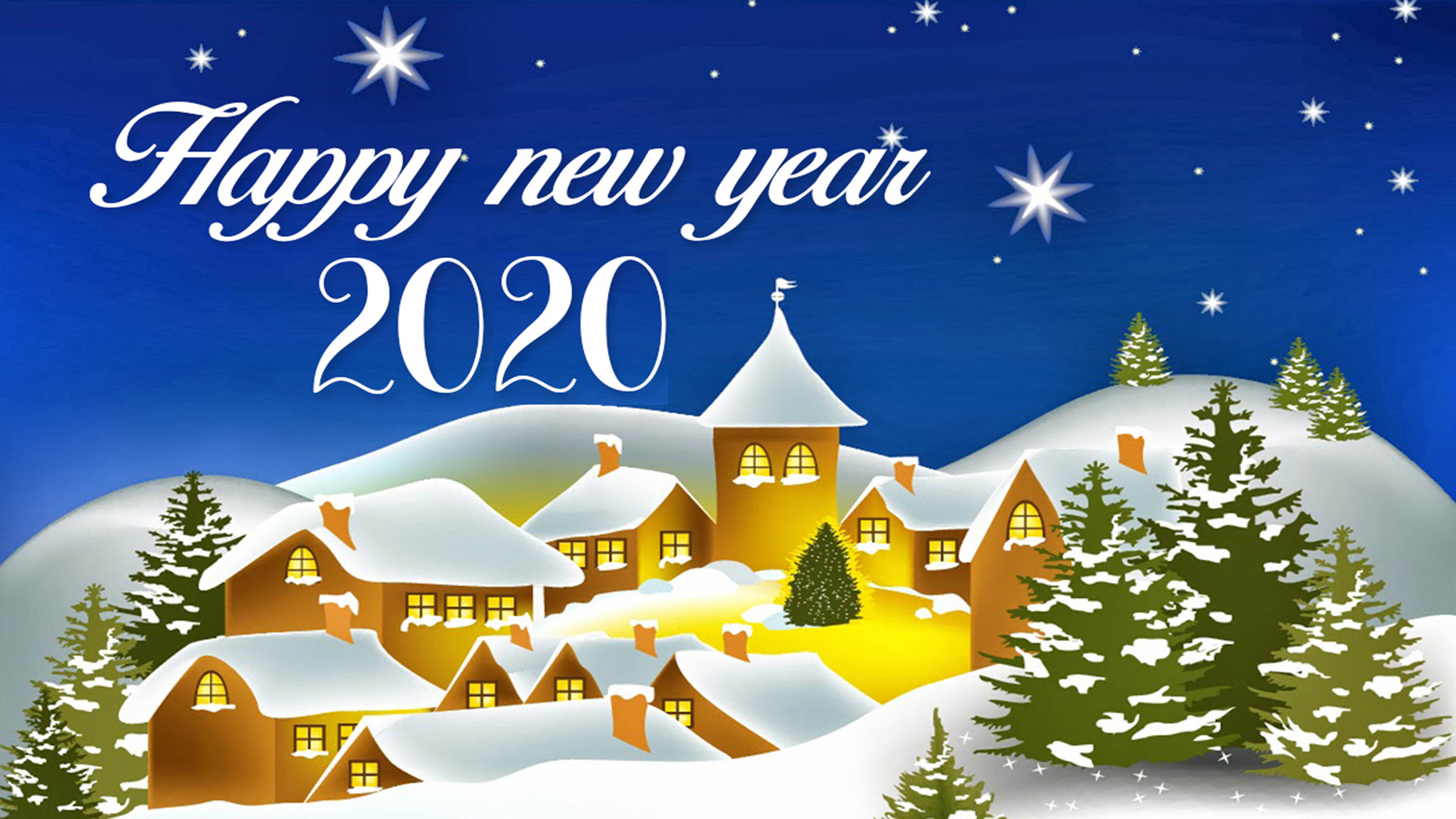 Happy New Year 2020 Best Wishes For Christmas Greetings Card Hd 3840x2160