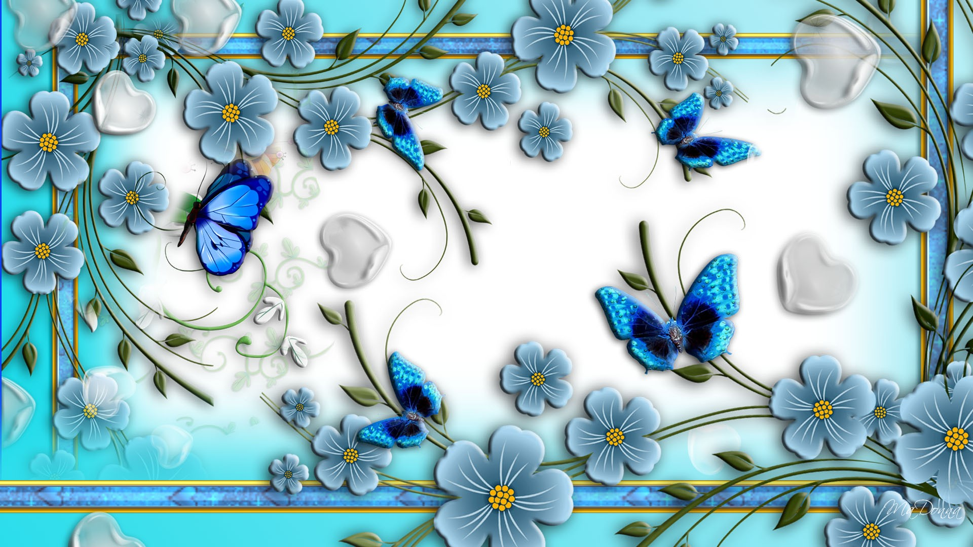 Download Blue Butterflies On Abstract Flowers HD Wallpapers 1920x1080