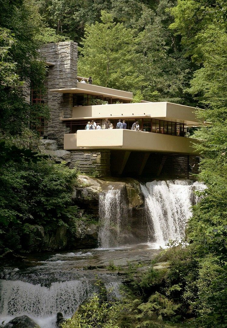 HD Fallingwater wallpaper Unusual buildings Waterfall house 746x1080