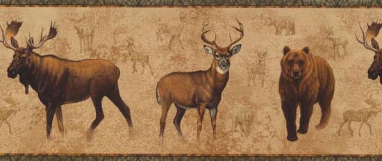 Wallpaper Border   Bear Moose Elk NM6633B 550x232