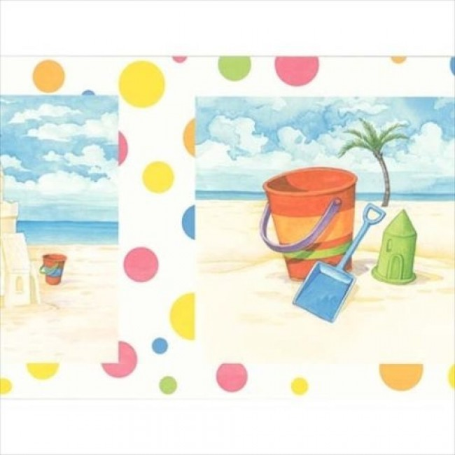 Sand Castles and Buckets on the Beach with Polka Dots Wallpaper Border 650x650