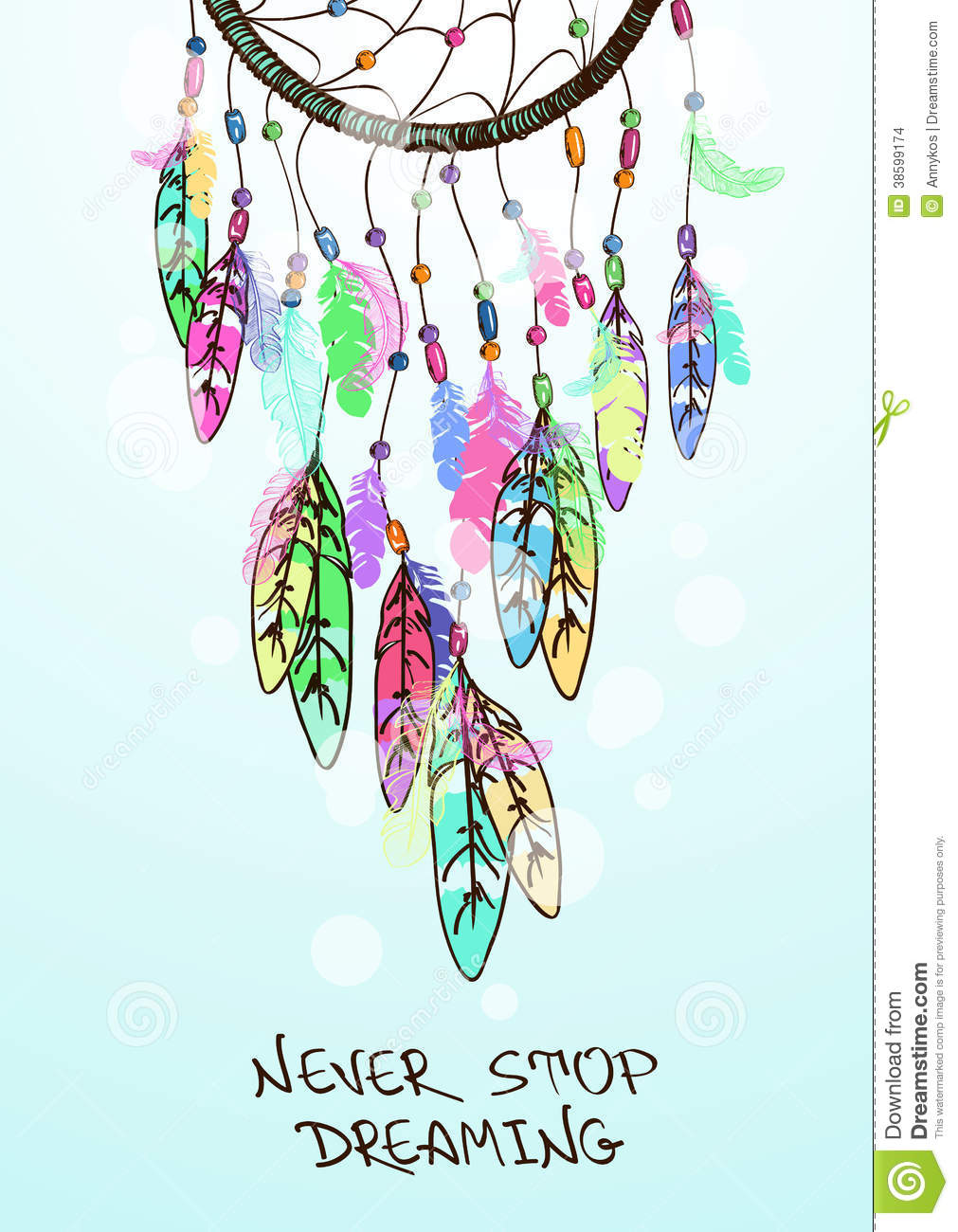 Tumblr iphone wallpaper dreamcatcher - Colorful Ethnic Illustration With American Indians Dreamcatcher
