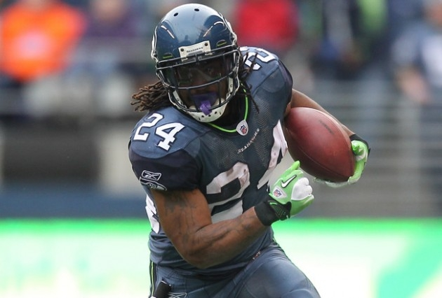 Seattle Seahawks running back Marshawn Lynch rushes for yards during a 630x426