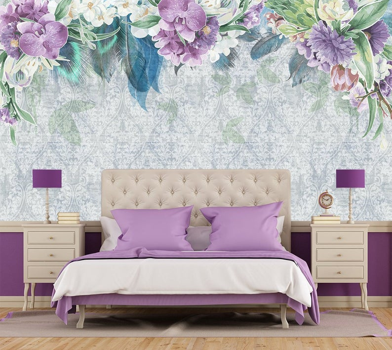 Floral Wallpaper Feather Flower Wallpaper Vintage Removable Etsy 794x708