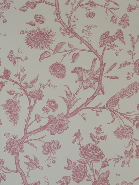 Details about Cream Pink Bird Toile De Jouy Wallpaper French 16151 480x640