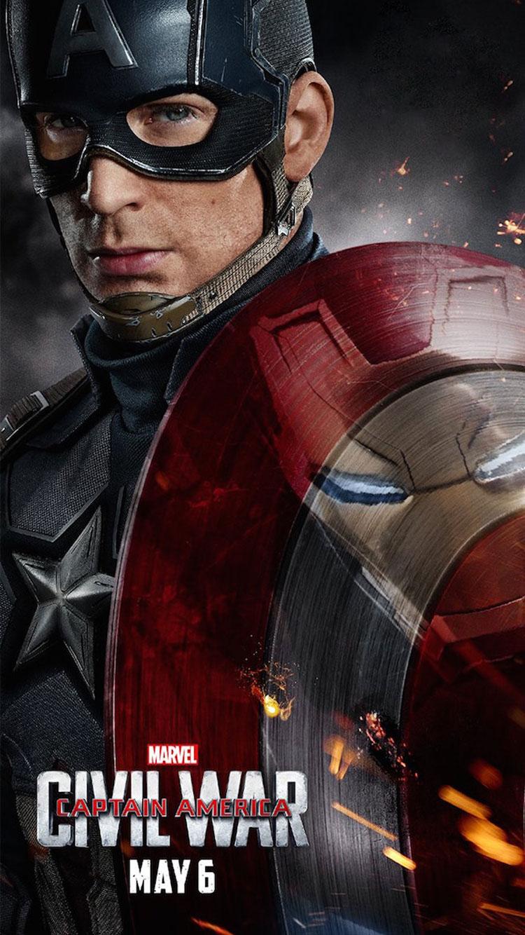 Captain America Civil War 2016 Captain Ameria  iPhone 6 Wallpaper 750x1334