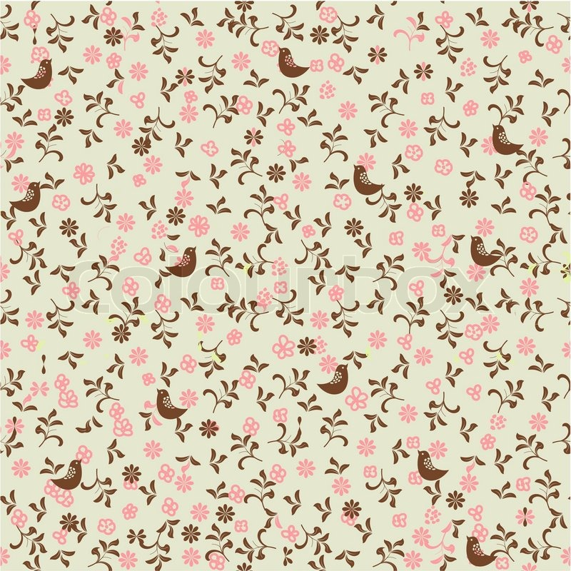 Vintage Bird Pattern Wallpaper Of seamless pattern with 800x800