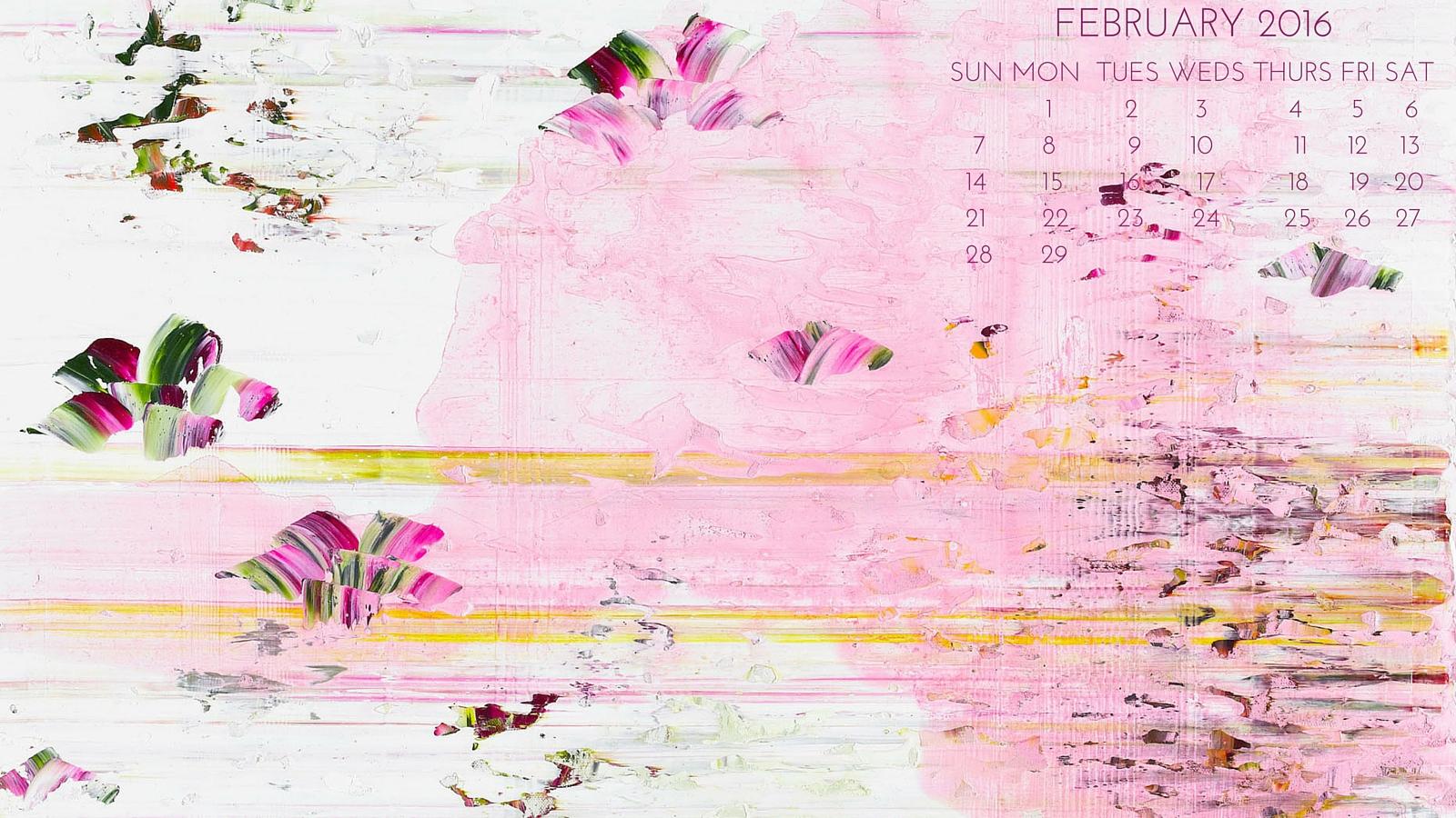 Jessica Zoob Desktop Calendar   FEBRUARY 2016   Jessica Zoob 1600x900