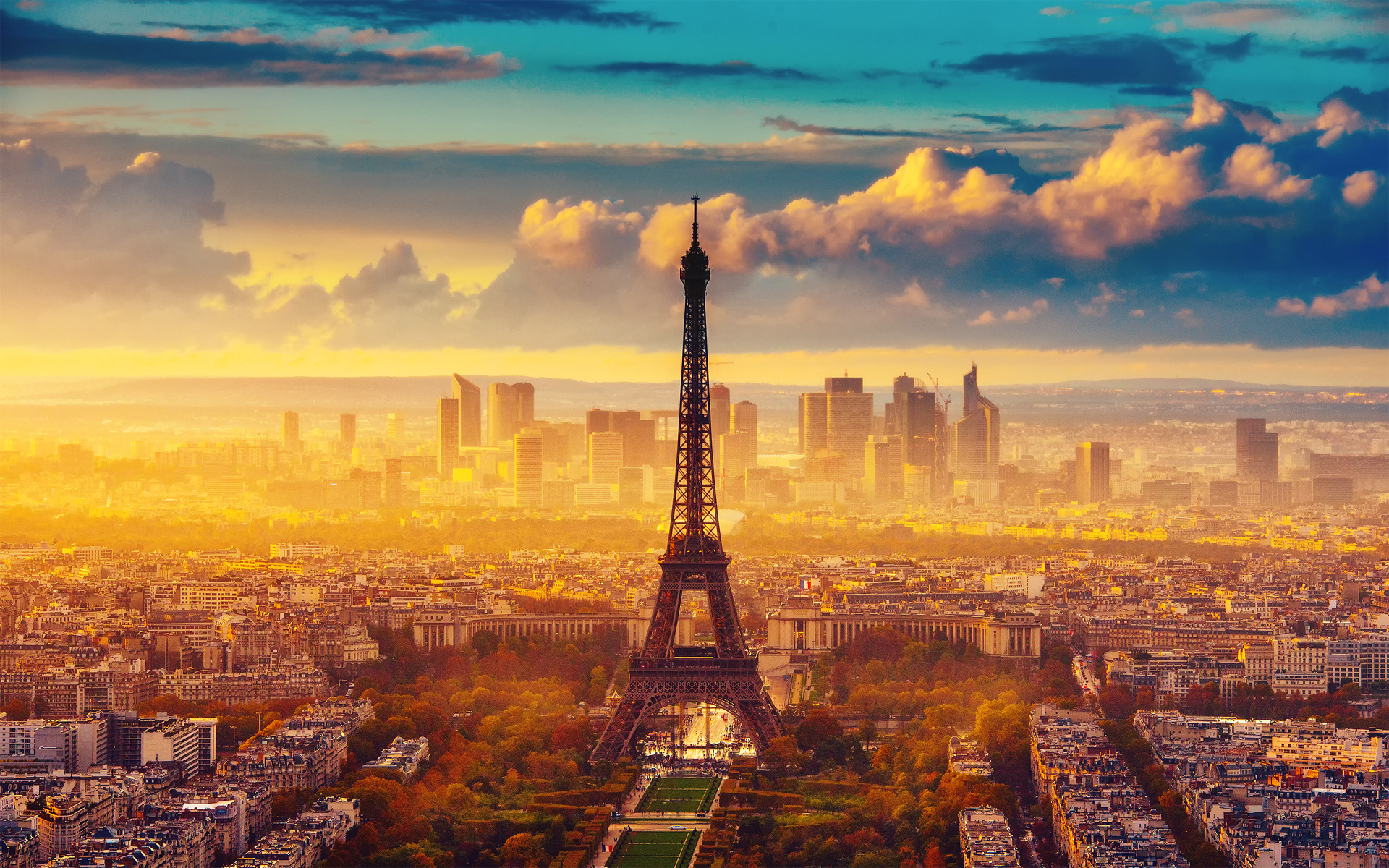 city Paris Eiffel Tower France autumn wallpaper background 1920x1200