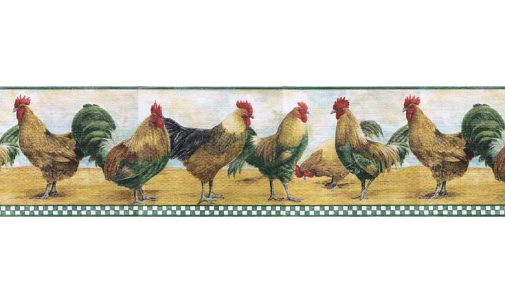 Home Roosters Wallpaper Border B8710TRY 1000x600