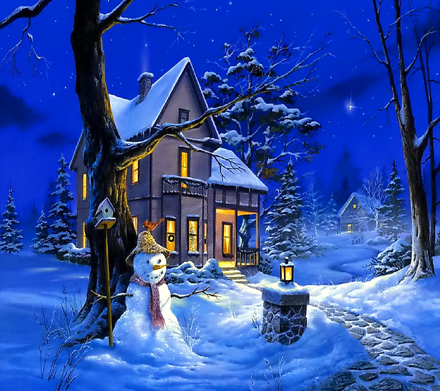 winter night wallpapers hd nature wallpaper hd wallpapers - Starry Christmas