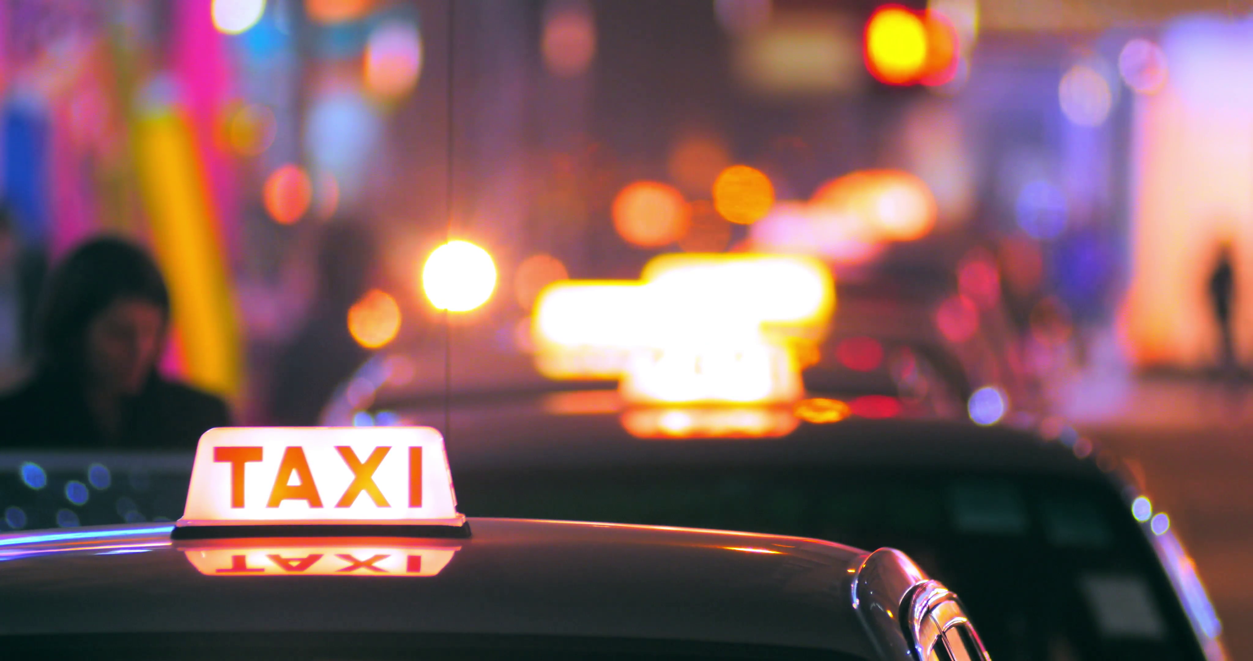 Blurred background of passenger entering inside taxi cab Taxi 4096x2160