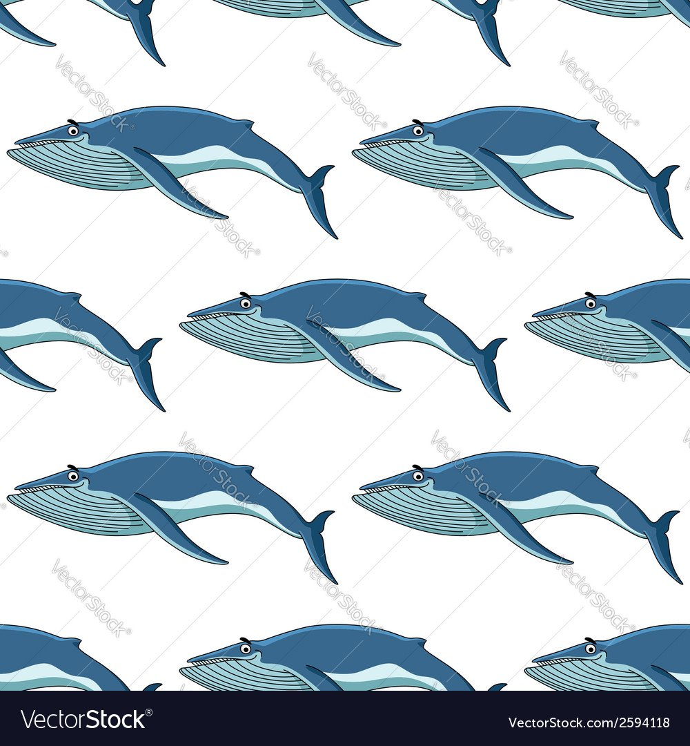Seamless background pattern of blue whales Vector Image 1000x1080