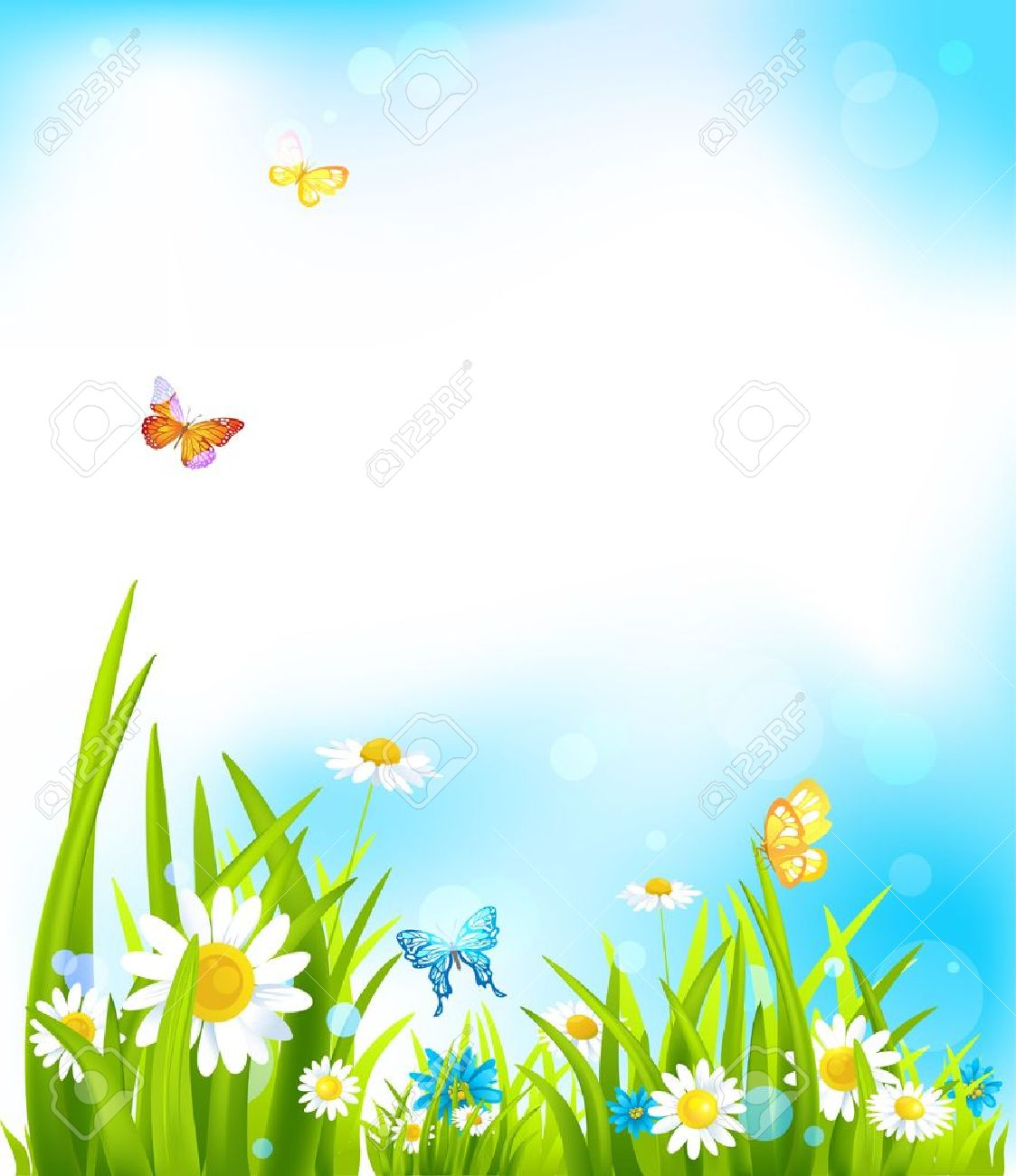 Vector Spring Background With Beautiful Flowers And Butterflies 1123x1300