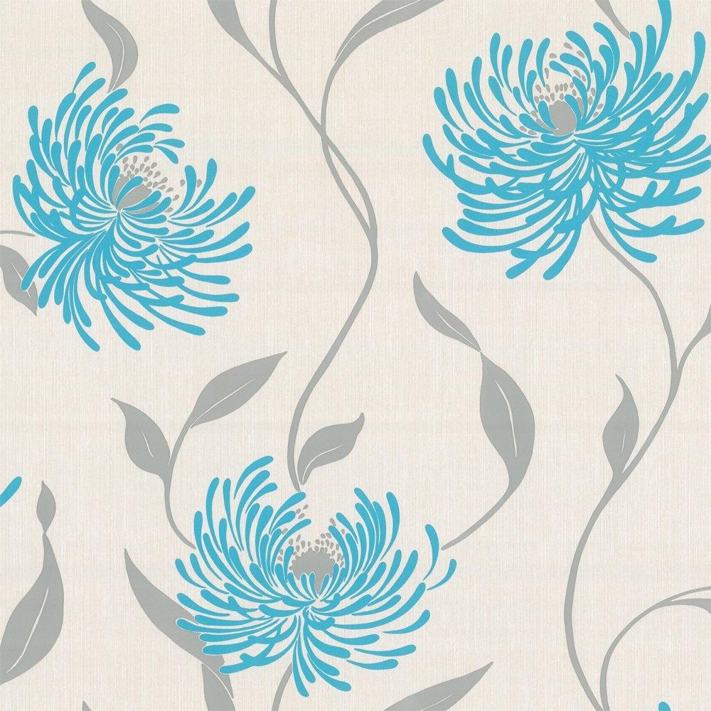 Home Wallpaper Crown Crown Lola Wallpaper Azure Grey and 1000x1000