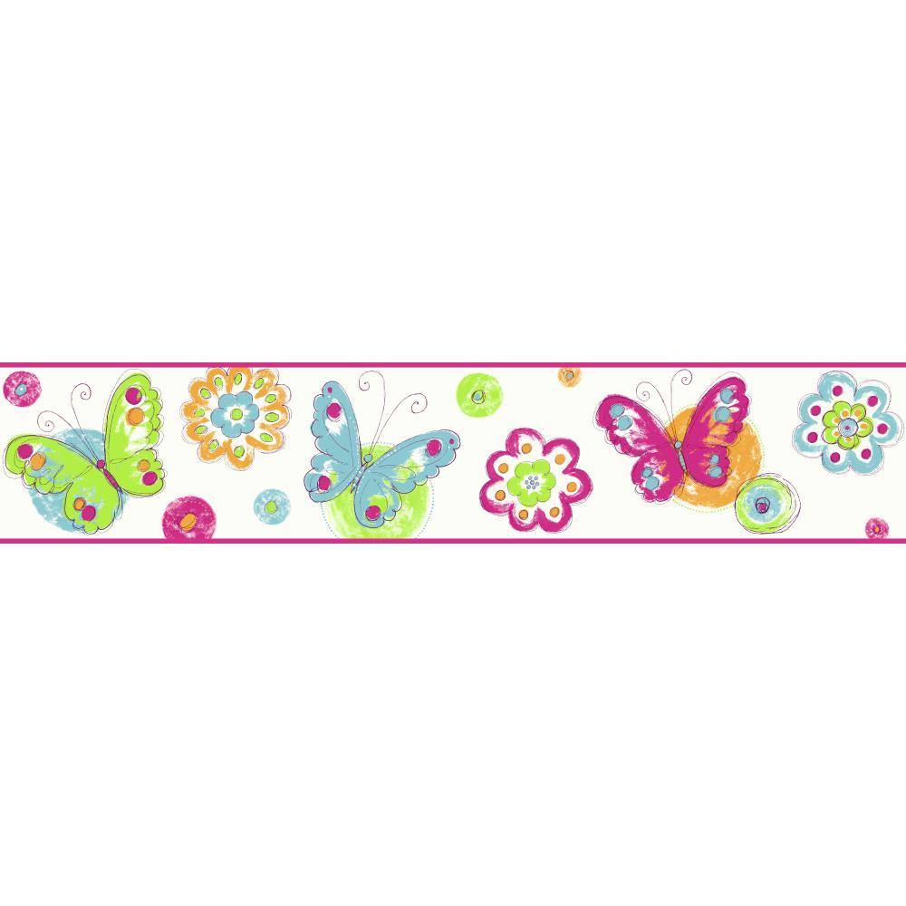 Kids KS2253BD Butterfly Circle Border   Wallpaper Border Wallpaper 1000x1000