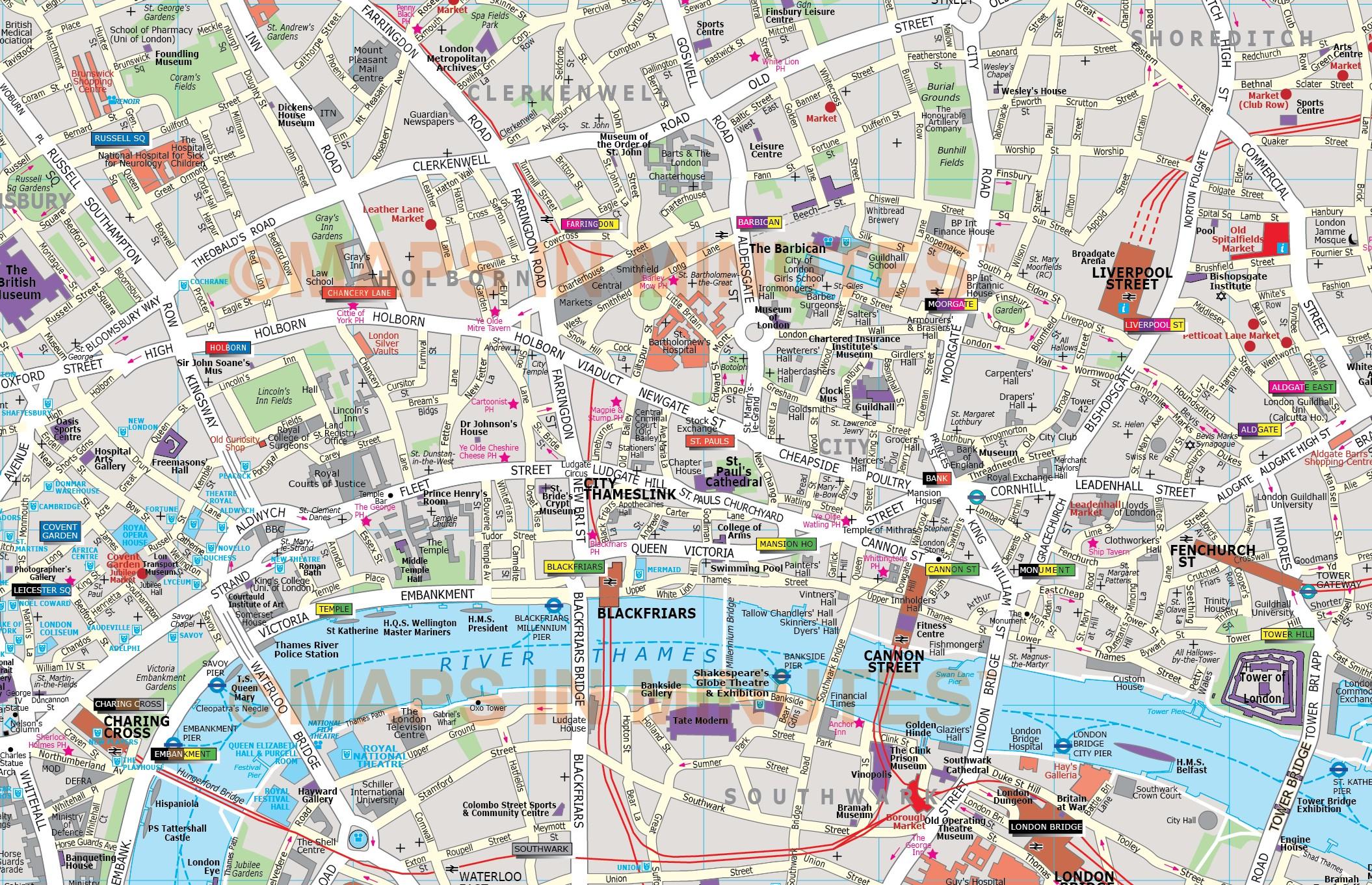 London Map Wallpaper WallpaperSafari – London Tourist Map Pdf