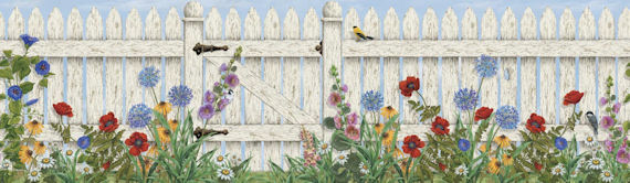 picket fence mural goes great with the Garden peel and stick sign 570x166