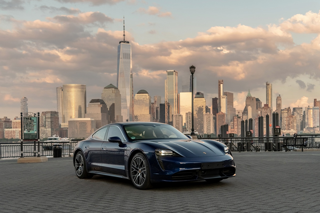 Images Porsche 2020 Taycan Blue automobile 1280x853