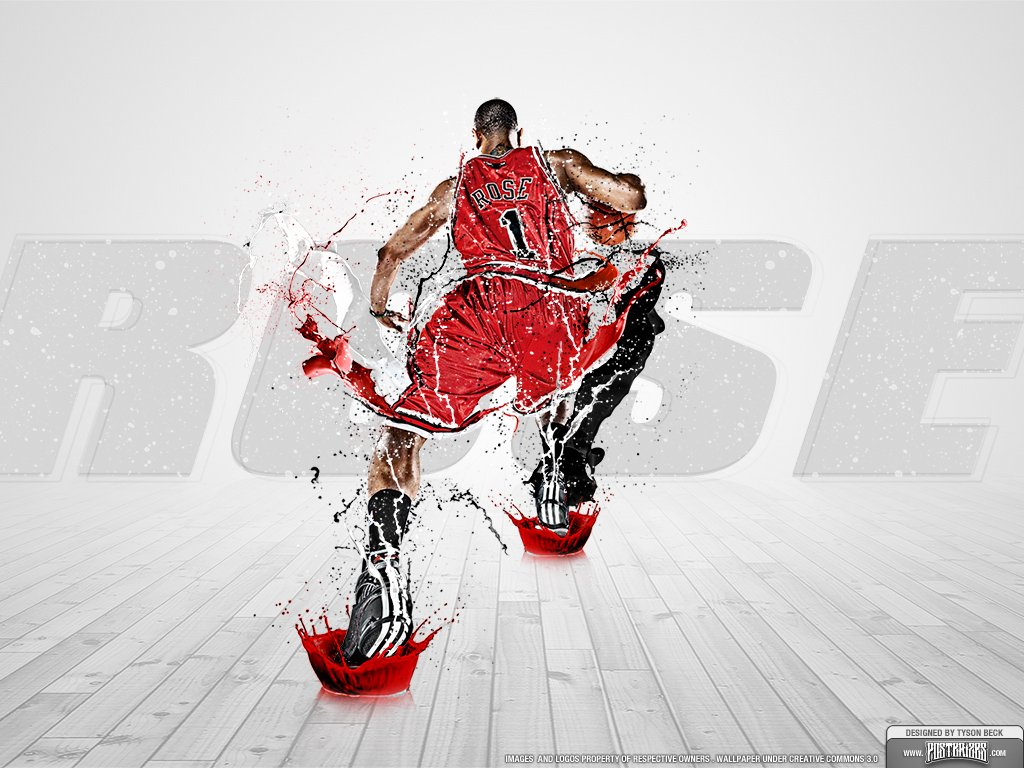 wallpaper of Derrick Rose in the Chicago Bulls 1024x768