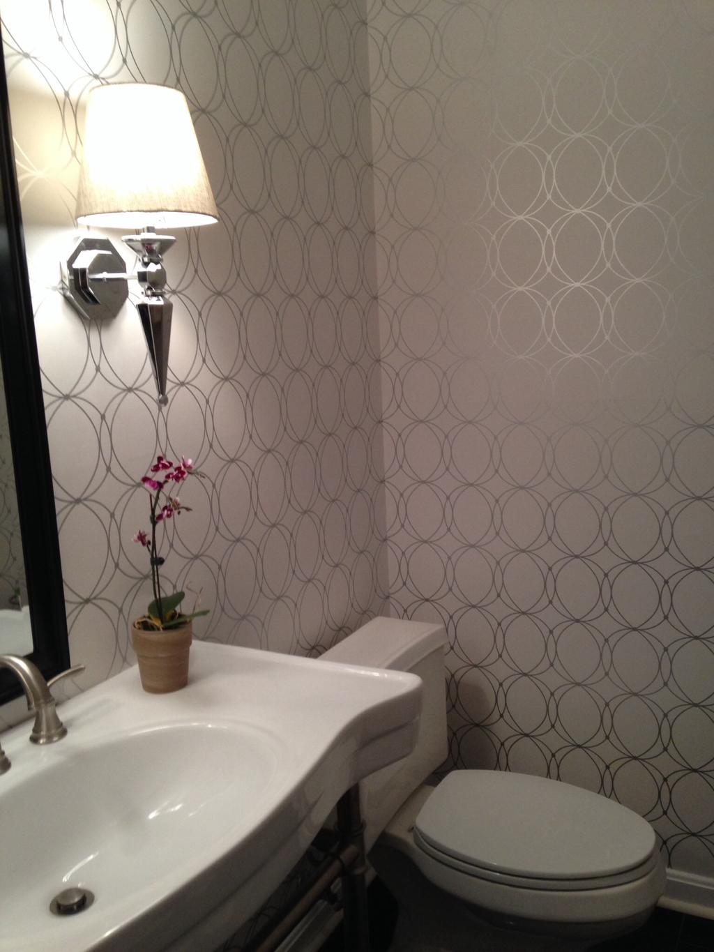 The Look for Less Powder Room Wallpaper 1024x1365