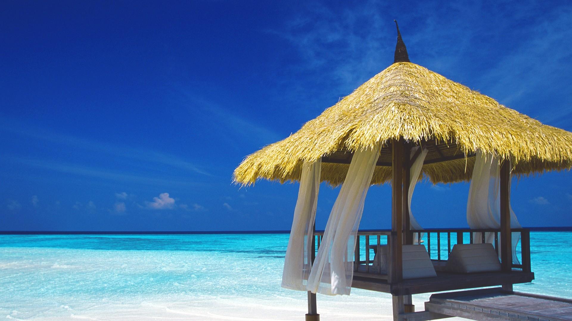Ocean Beach Wallpaper 1920x1080 Ocean Beach Shore Maldives Huts 1920x1080