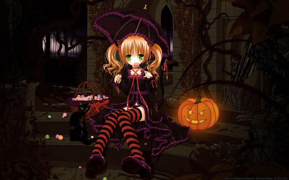 Cute halloween anime girl wallpaper   ForWallpapercom 969x606