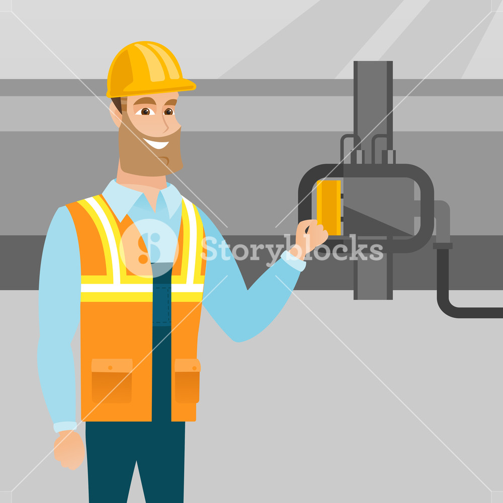 Caucasian operator of oil refinery plant checking detector on 1000x1000