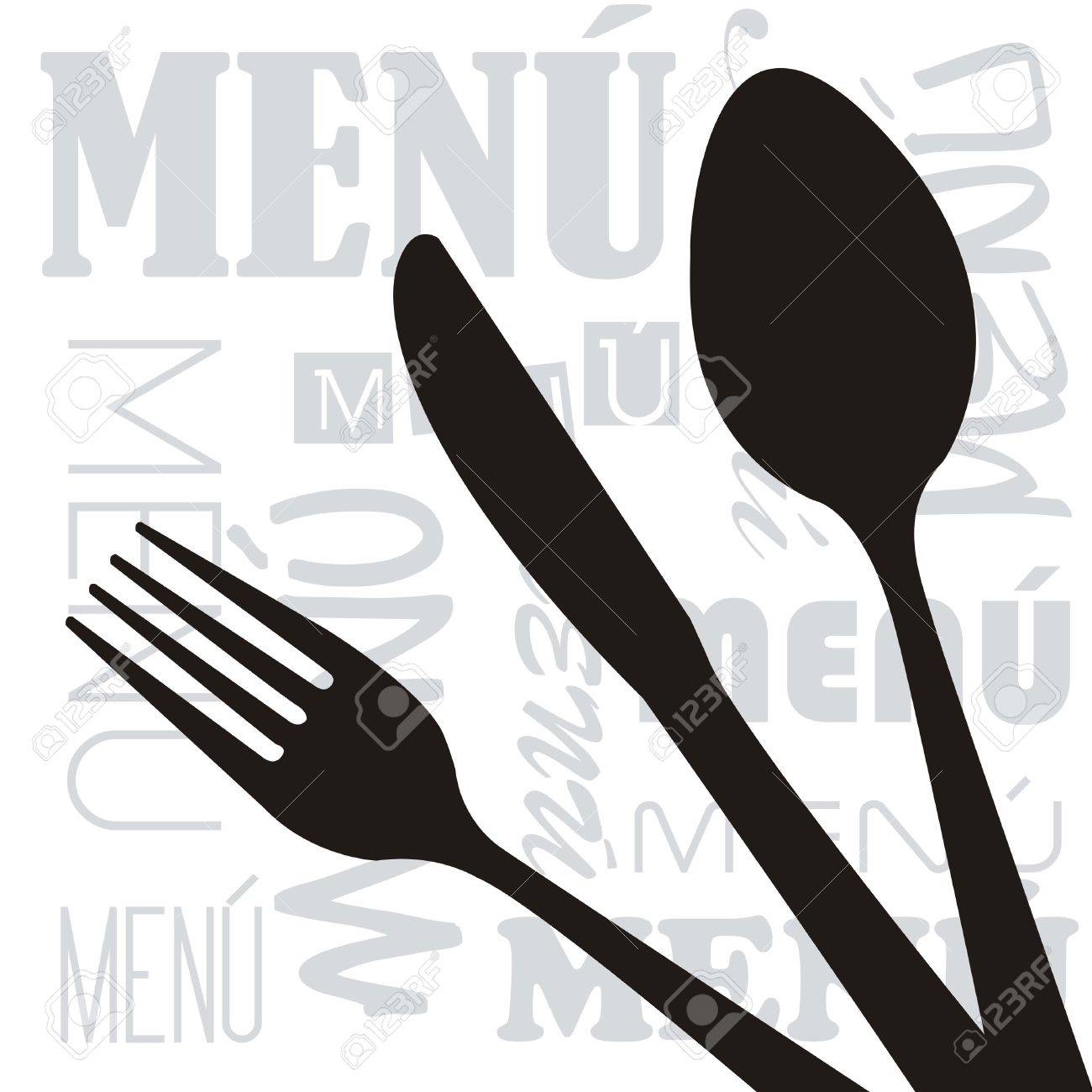 Menu With Silhouette Cutlery Background Vector Illustration 1300x1300