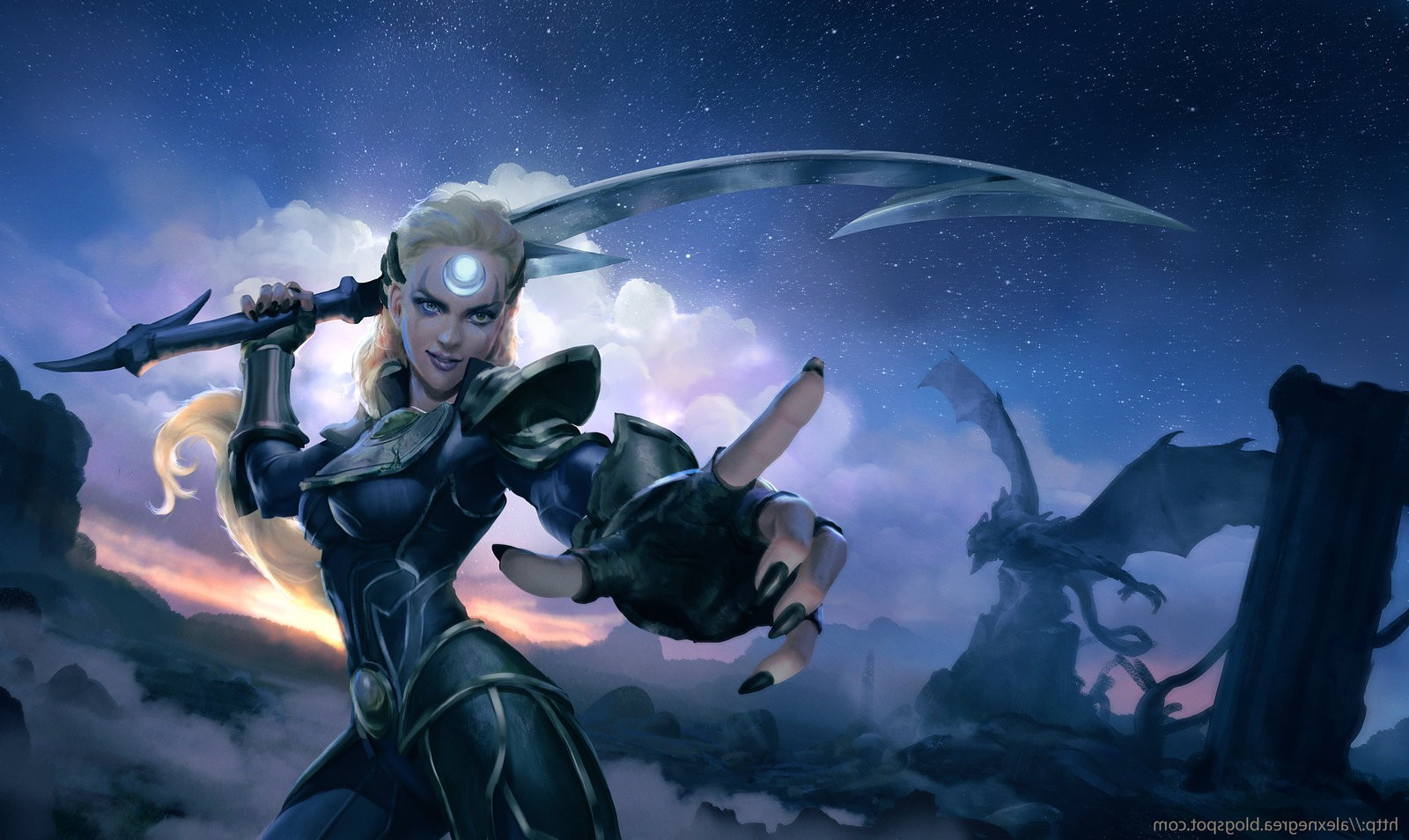 Diana Sword Dragon Blonde League Of Legends Wallpapers HD 1600x954