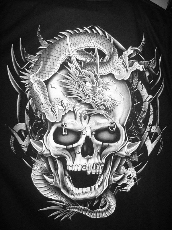 Black And White Dragon Wallpaper Dragon Skull Black And White 600x800
