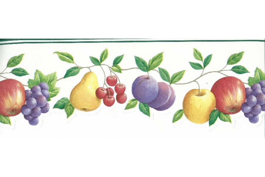 Apple Peach Grapes Berries Wallpaper Border 900x600
