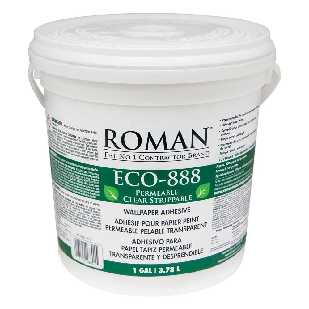 Roman ECO 888 1 gal Strippable Clear Wallcovering Adhesive 018801 1000x1000
