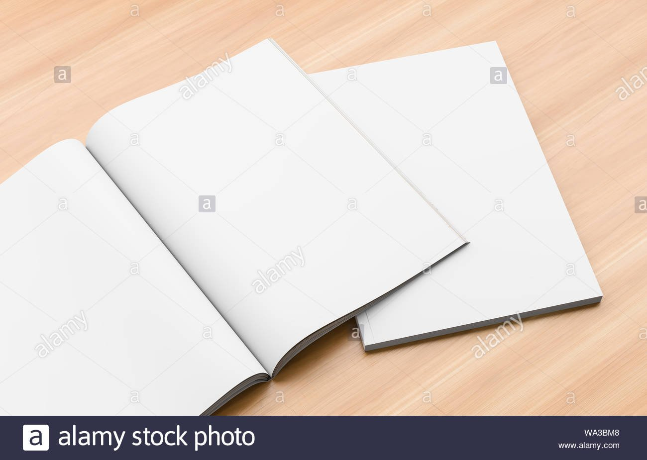 Realistic magazine brochure book or catalogue mock up on wooden 1300x925