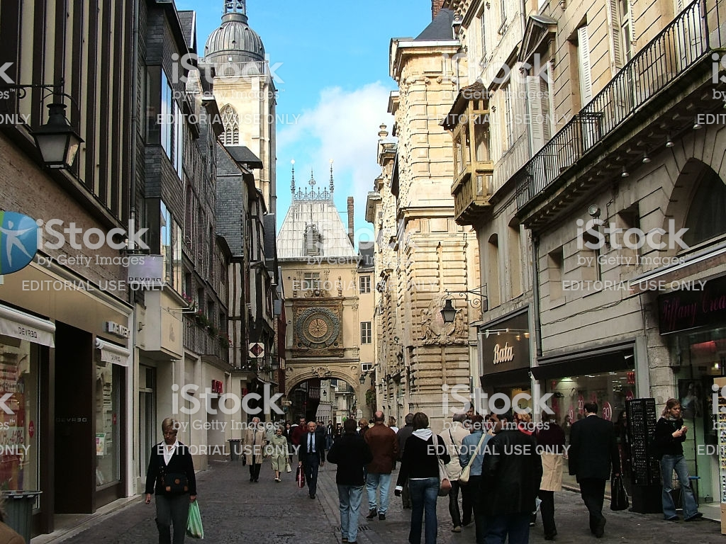 Pedestrian Street In Rouen France Stock Photo   Download Image Now 1024x768
