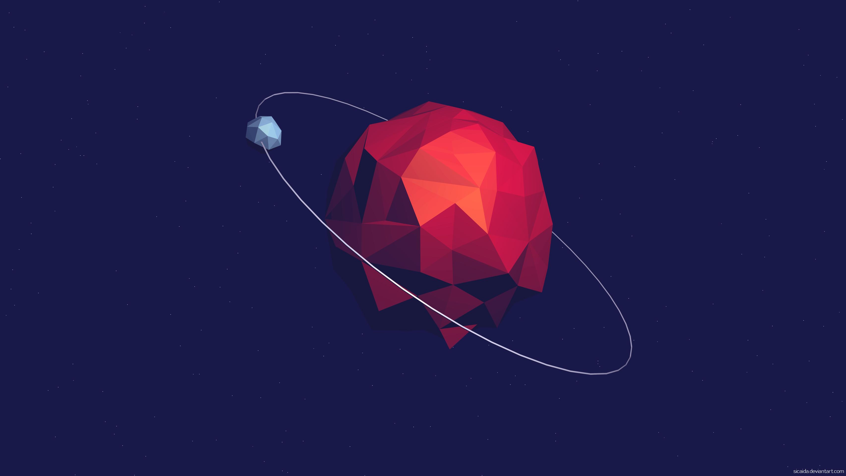low poly planet by sicaida 3413x1920