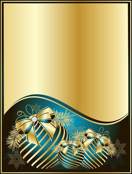Gold Christmas Background with Blue Balls 456x600