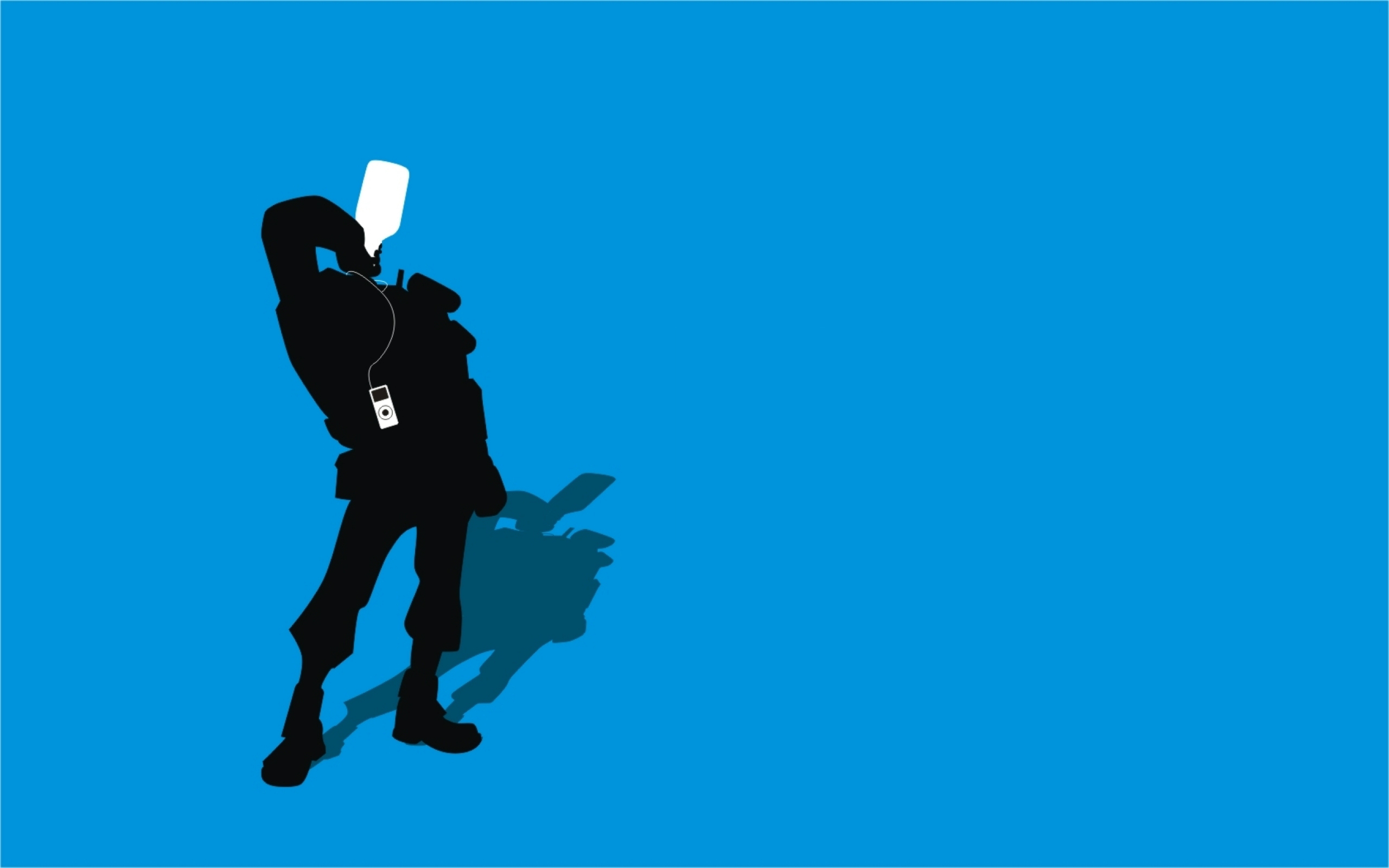 TF2 Blue Demoman Silhouette iPod Earbuds 2560x1600 by cwegrecki on 2560x1600