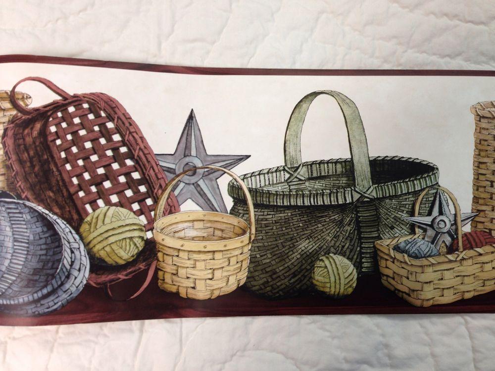 Primitive Country Baskets Stars and Rag Balls Wallpaper Border eBay 1000x750