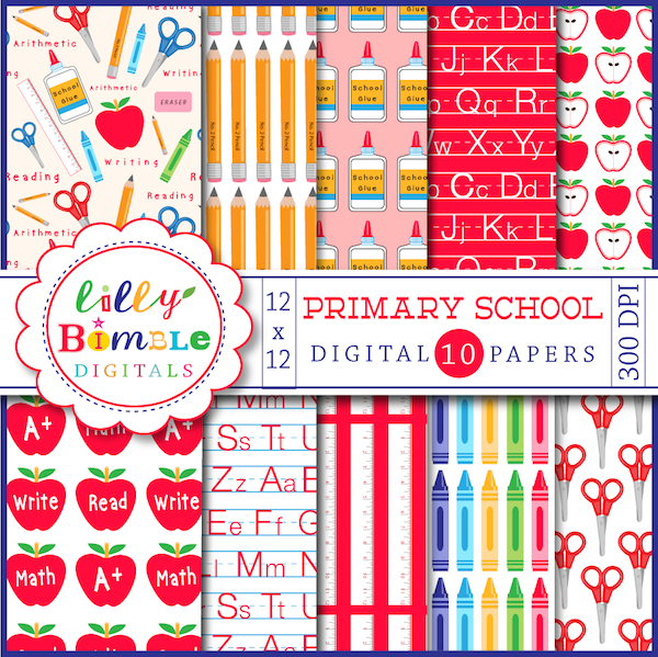 Primary School Digital Papers   Digital Papers Backgrounds 600x599