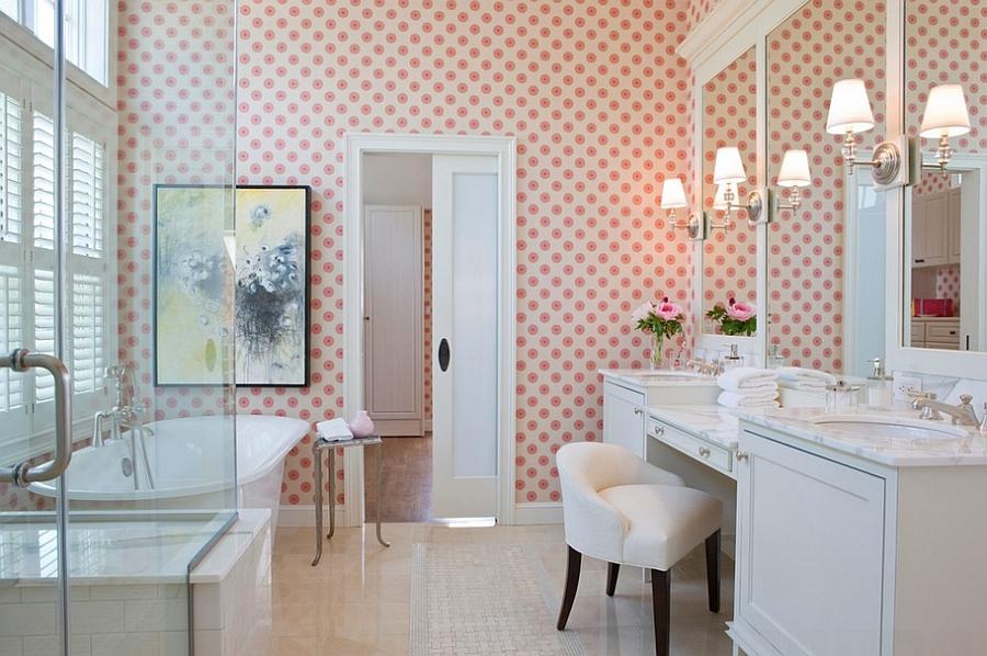 Beach style bathroom in Boston with cool wallpaper [By Terrat Elms 900x598