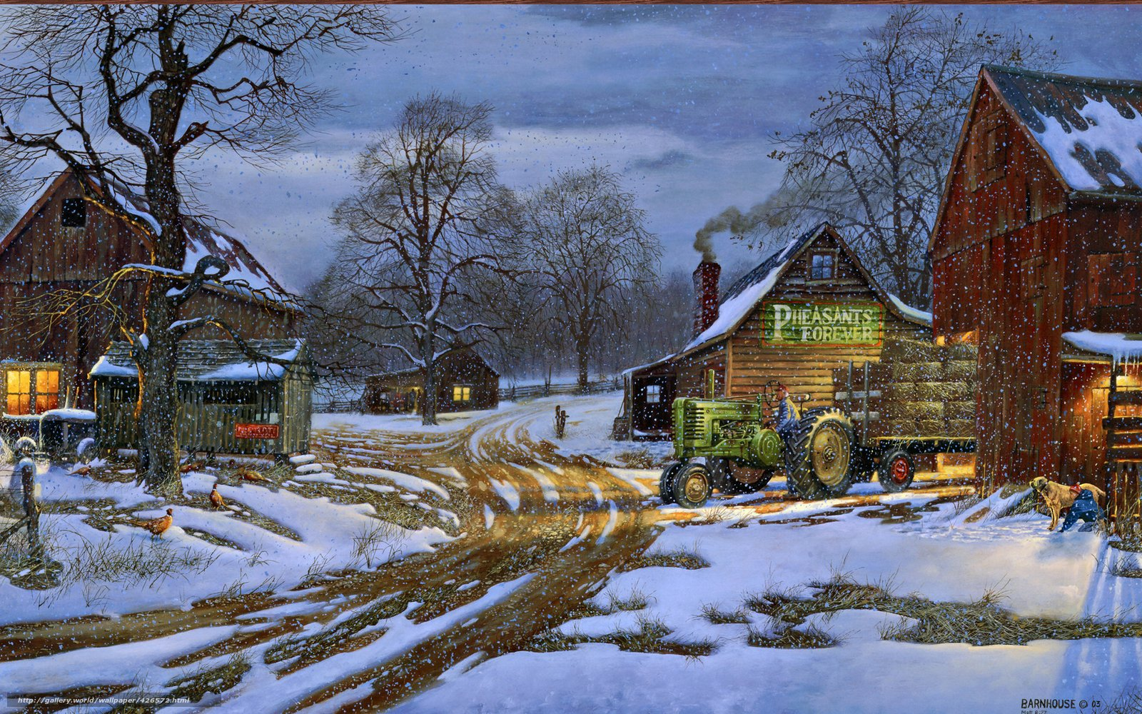 Download wallpaper Winter snow tractor farm desktop wallpaper 1600x1000