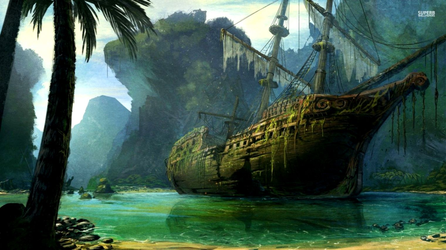 Pirate Ships Wallpaper Wallpapers Master 1520x855