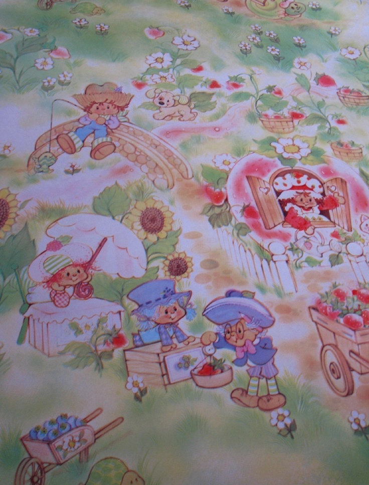 LISTING for KELLY   vintage wallpaper   strawberry shortcake 736x967