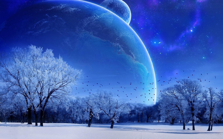 Vgel Schnee Sterne Planeten Winter widescreen 1440x900 Winter 1440x900