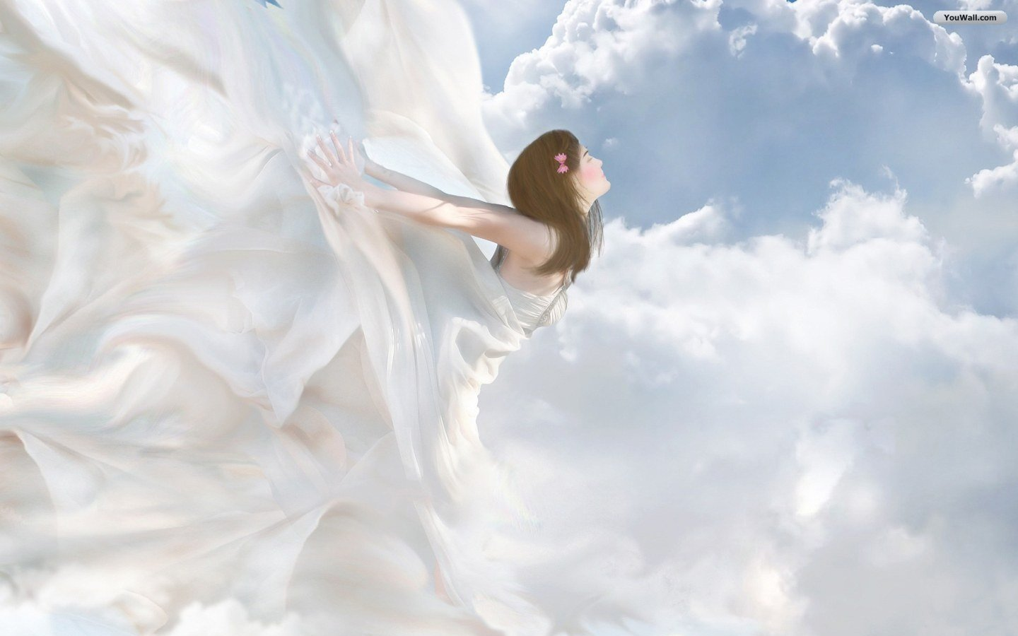 YouWall   Flying Angel Wallpaper   wallpaperwallpapersfree wallpaper 1440x900